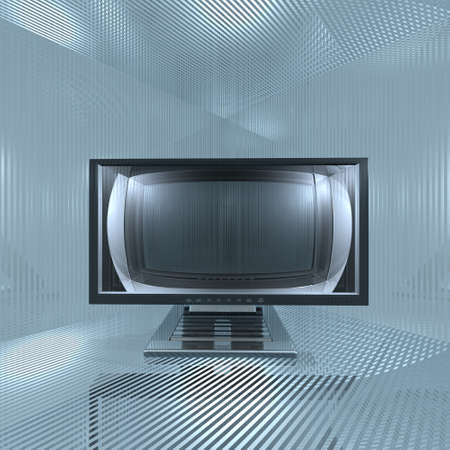 monitor in glass grid room Stock Photo - 4228494