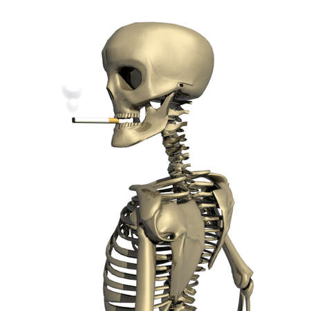 3D skull with cigarette isolated on white photo