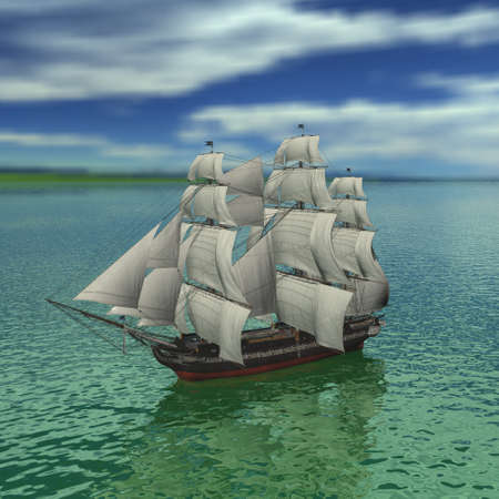 warship: Sailing vessel in the sea