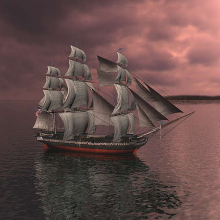 tall ship: Sailing vessel in the sea
