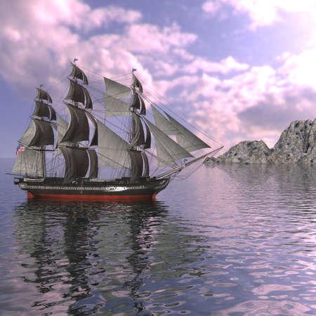 Sailing vessel in the sea Stock Photo - 4228501