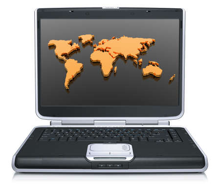 3d model of the geographical world map on laptop screen isolated on a white background Stock Photo - 4228513