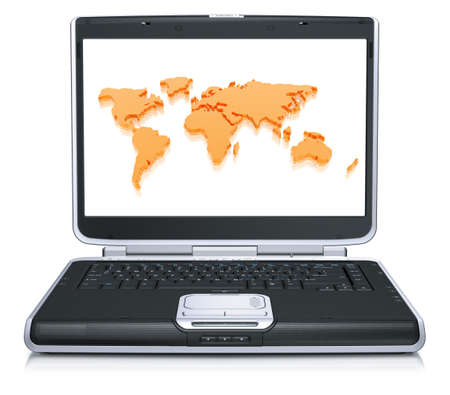 geographical: 3d model of the geographical world map on laptop screen isolated on a white background