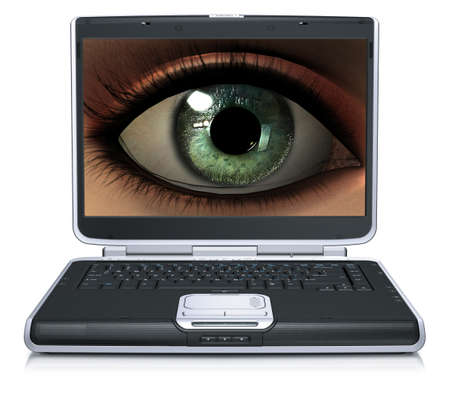girl eye on laptop screen isolated on a white background