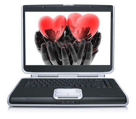 harmony idea: valentine red heart on laptop screen isolated on a white background Stock Photo