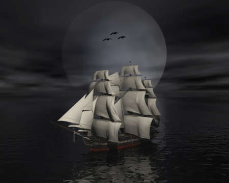 tall ship: Sailing vessel in the sea with moon