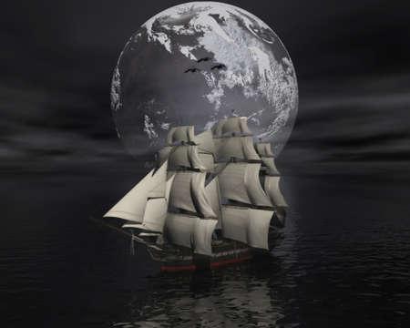 voile: Bateau � voile dans la mer avec la lune