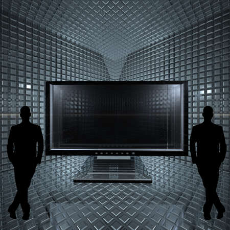 businessman and monitor in glass grid room