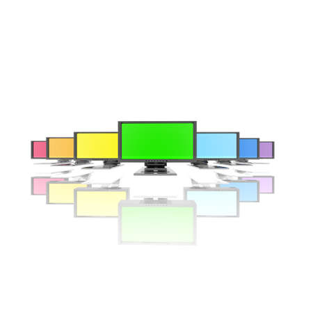monitors in a row isolated on a white background photo