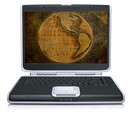 geographical: retro model of the geographical world map on laptop screen isolated on a white background Stock Photo
