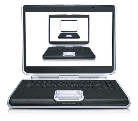 3d model of the laptops on laptop screen isolated on a white background Banque d'images