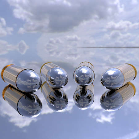 bright 3D golden bullets in the sky  Stock Photo