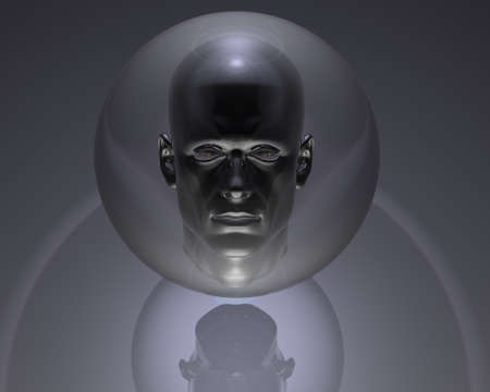 3d men head in glass orb with reflection Stock Photo - 4316195