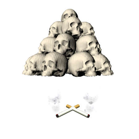 skull with cigarette isolated on white background photo