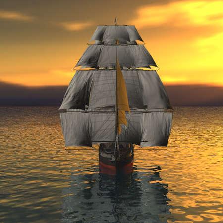 deportes nauticos: Buque de vela en el mar