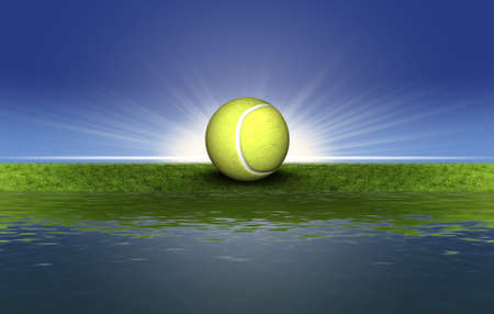tennis ball on the green grass with sunset background photo