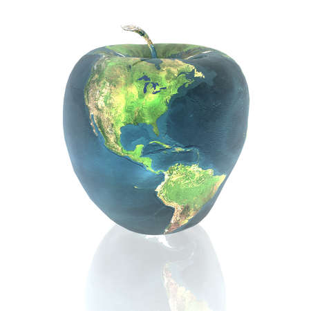 environment geography: bright apple with earth texture in 3d
