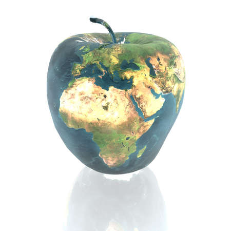bright apple with earth texture in 3d