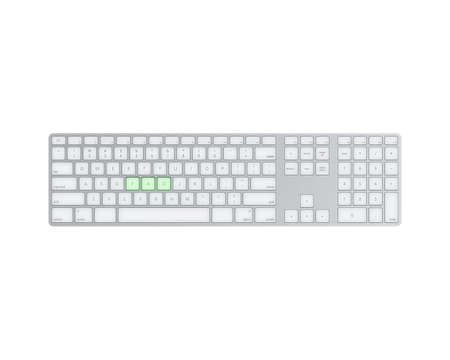 keyboard with text isolated on white background