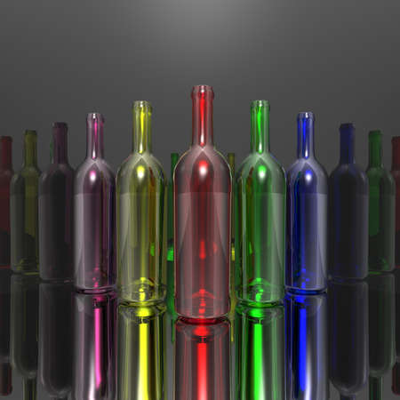 wine empty colorful bottles in 3d photo