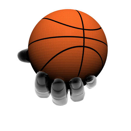 hand with basket ball isolated on a white background photo
