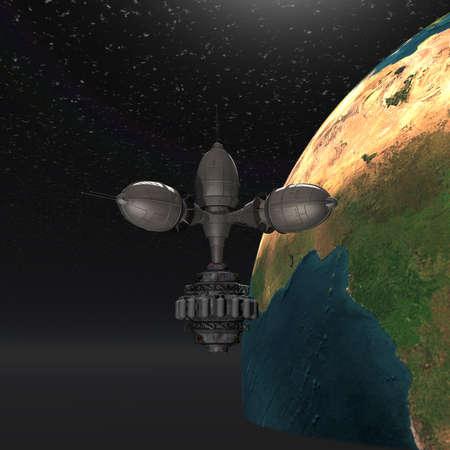 Satelite sputnik orbiting earth in space photo