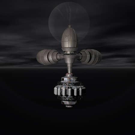 dreamlike: Satelite sputnik orbiting earth in space Stock Photo