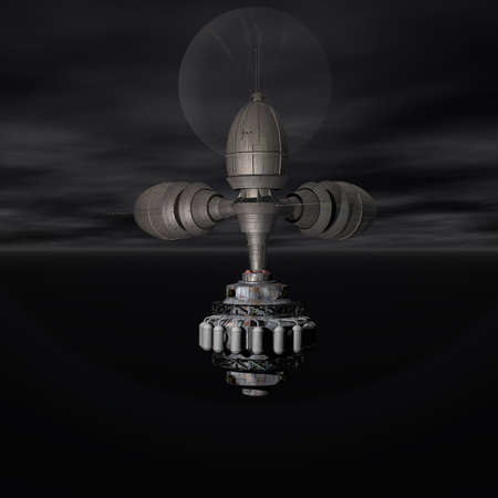 unreal unknown: Satelite sputnik orbiting earth in space Stock Photo