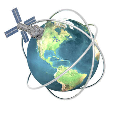 sputnik: Satelite sputnik orbiting earth in space Stock Photo