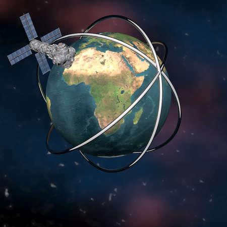 unreal unknown: Sputnik terra via satellite in orbita nello spazio Archivio Fotografico