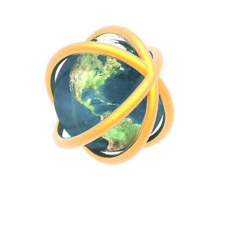 unreal unknown: Sputnik satellitare in orbita intorno alla terra nello spazio  Archivio Fotografico