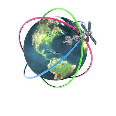 unrealistic: Satelite sputnik orbiting earth in space Stock Photo