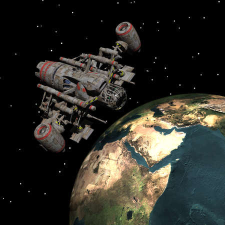 unreal unknown: Sputnik satellitare che orbita intorno alla terra nello spazio Archivio Fotografico