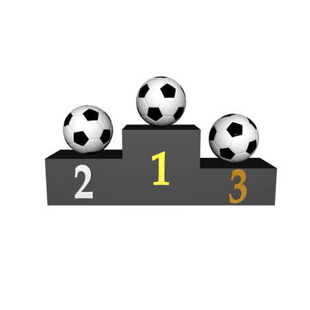 podium with soccer balls isolated on a white photo