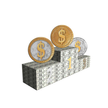 one us dollar coin: podium with siver and golden coins isolated on a white Stock Photo