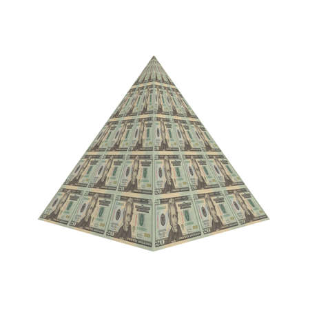us dollar note pyramid isolated on a white Stock Photo - 4439886