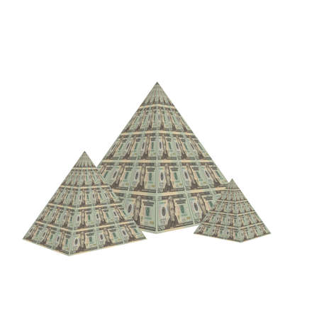 us dollar note pyramid isolated on a white Stock Photo - 4439888