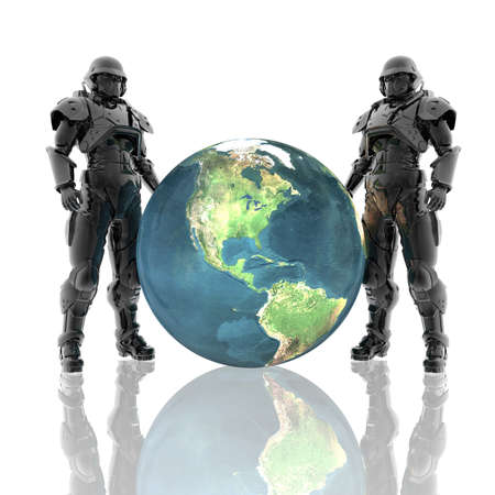 3d soldiers in a gas mask with earth isolated on a white Stock Photo - 4439961