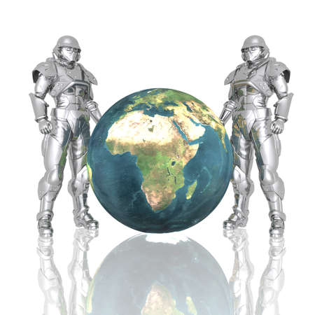 3d soldiers in a gas mask with earth isolated on a white Stock Photo - 4439964