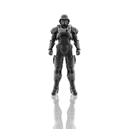 3d soldier in a gas mask isolated on a white background photo