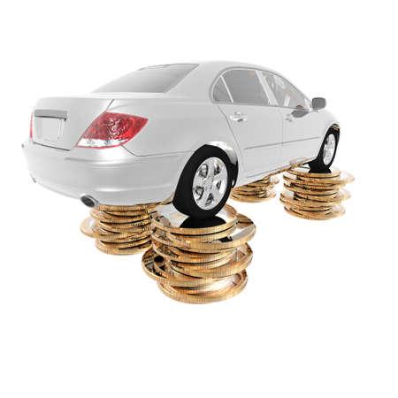 dollar coins: luxury expensive car on the dollar coins