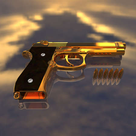 matte: Closeup of pistol with bullets Stock Photo