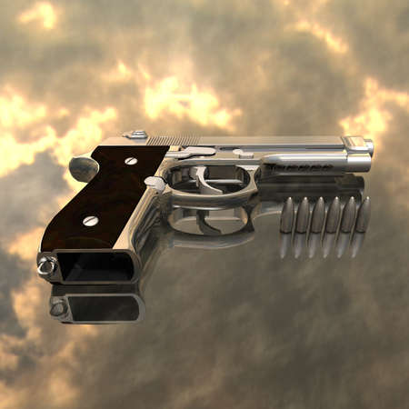 peacemaker: Closeup of pistol with bullets Stock Photo