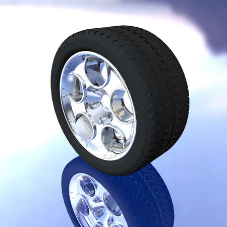 car tire wheel on a background with reflection photo