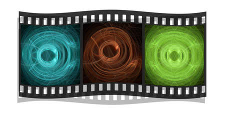 graphic display cards: film stripe with 3 fractals images isolated on a white