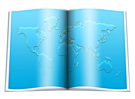 geographical: book with colorful world geographical map silhouette on white