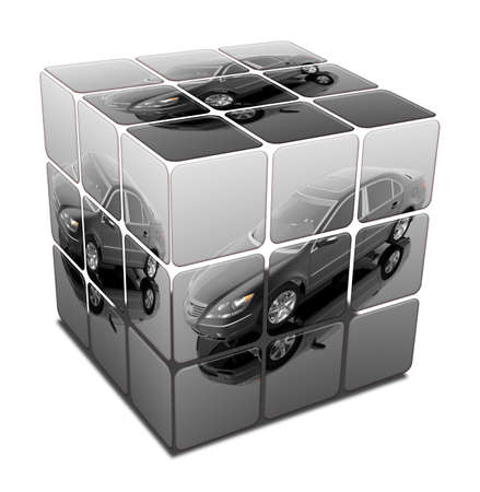 luxury expensive car in cube isolated on a white Stock Photo