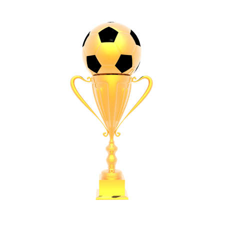 victor: trophy cup with soccer ball isolated on a white background