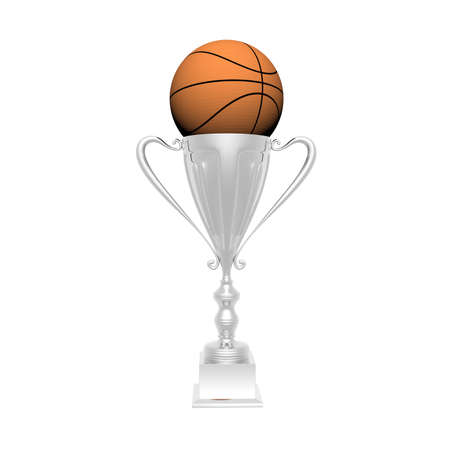 trophy cup with basket ball isolated on a white background Stock Photo - 4560841