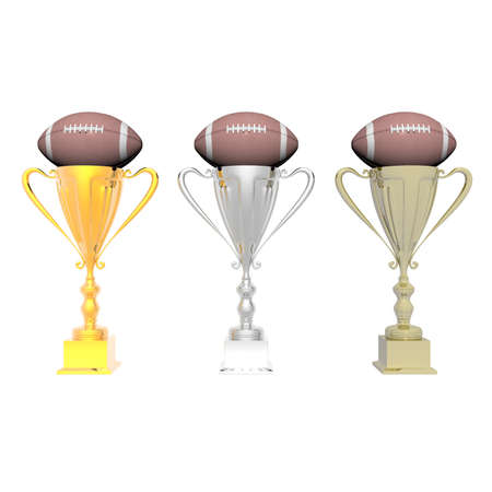 trophy cup with football isolated on a white background photo